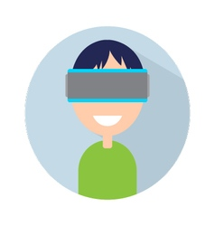 Man with virtual reality headset on your head vector