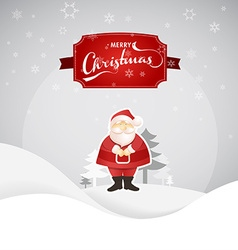 Merry christmas greeting card with santa and snowy vector