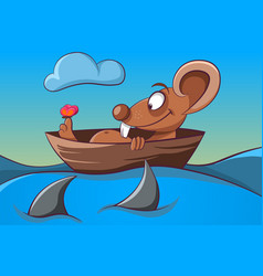 mouse butterfly boat and sea vector image
