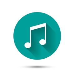 Music icon on green background with shadow vector image