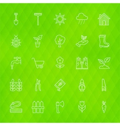 Nature Flowers and Garden Line Icons Set over vector image vector image