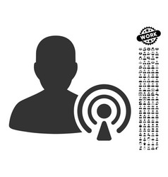 Podcast creator icon with professional bonus vector