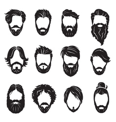 set of beards and hairs vector image vector image
