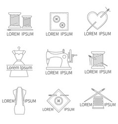 set of sewing and needlework icons line style vector image