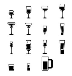 Set of silhouette glass icons with water vector