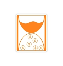 Stylish sticker on paper hourglass and coins vector