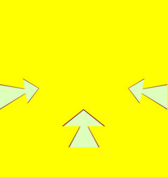 three white arrows on yellow background vector image vector image