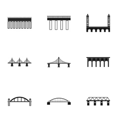 Types of bridges icons set simple style vector