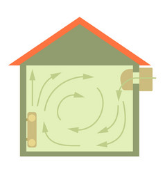 Ventilated home icon cartoon style vector