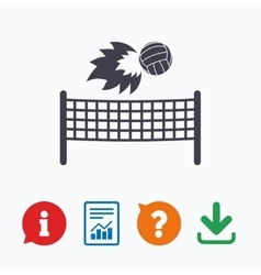Volleyball net fireball icon beach sport symbol vector