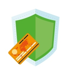 Shield and credit card icon vector