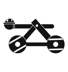 Ancient wooden catapult icon simple style vector
