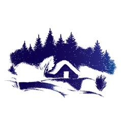 Rural winter scenery vector