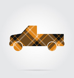 Orange black tartan icon - pickup with a flatbed vector