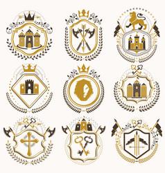Set of vintage elements heraldry labels stylized vector
