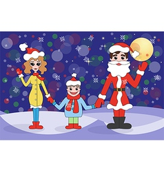 family on winter holidays vector image
