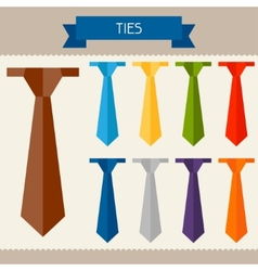 Ties colored templates for your design in flat vector