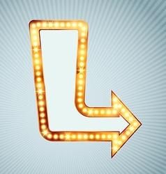 Bright light bulb pointing arrow sign vector image