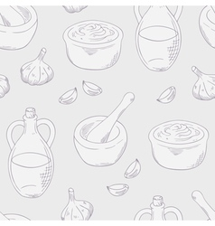 Outline aioli sauce seamless pattern background vector