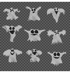 Set of halloween white ghosts with different vector