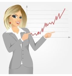 Businesswoman pointing at growth graph vector