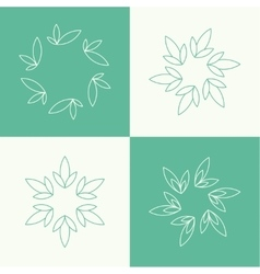 Set of outline floral emblems vector