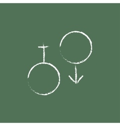 Male and female symbol icon drawn in chalk vector