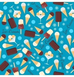 Seamless pattern with ice creams isolated on blue vector