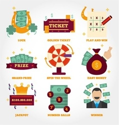 Lottery flat design icon collection vector