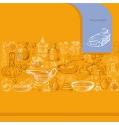 Hand drawn silhouette spa accessories vector image