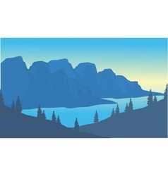 Silhouette of river and mountain background vector