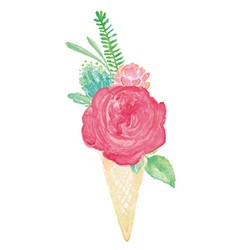 Watercolor flower bouquet cone vase set vector