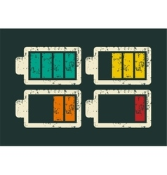 Battery icons typographic retro grunge set vector