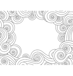 Abstract hand drawn frame border with outline sea vector image vector image
