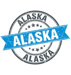 Alaska blue round grunge vintage ribbon stamp vector