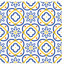 azulejos blue and white mediterranean seamless vector image vector image