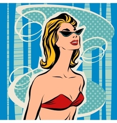 Beautiful girl sunbathes in bikini vector image vector image