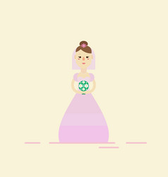 Bride wearing wedding pink dress vector