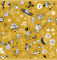 cartoon comic characters group seamless pattern vector image vector image