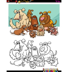 cartoon dogs for coloring vector image vector image