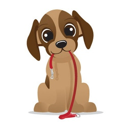 Cute puppy dog with leash vector