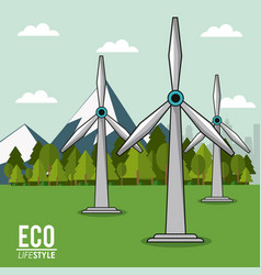 Eco lifestyle turbine wind energy renewable vector