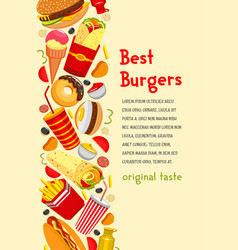 Fast food poster for burgers restaurant vector