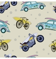 Fun surfboards on transport cars bicycles vector