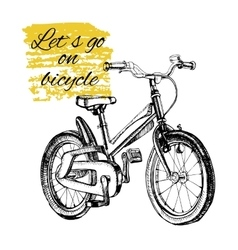 hand drawn teenage bicycle with text vector image vector image