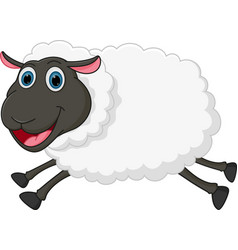 Happy sheep jumping vector