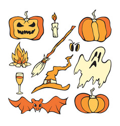 Helloween set color pumpkin and other horror vector