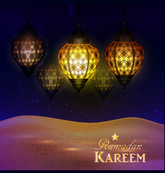 lanterns in the desert at night sky vector image vector image