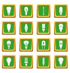 Light bulb icons set green vector