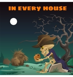 Lonely skeleton with a pumpkin in wild west vector